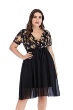 цена на 5XL Large Size Women Chiffon Midi Dress 2019 Summer Short Sleeve Print Dresses Sexy Low V-neck Lace Stitching Dress Plus Size