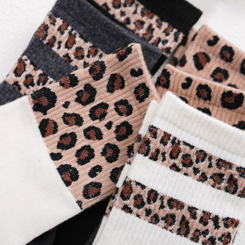 Hot Retro Leopard Print Cotton Blends Women   Socks   Fashion High Street Popular Stripe Leopard   Socks   Spring Summer Cool Cozy   Socks