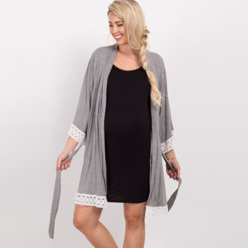 Autumn Women Lady Pregnant Maternity Robes Pajamas Nightdress Nurse Soft Sleepwear Nigthwear Lace Dress Plus Size