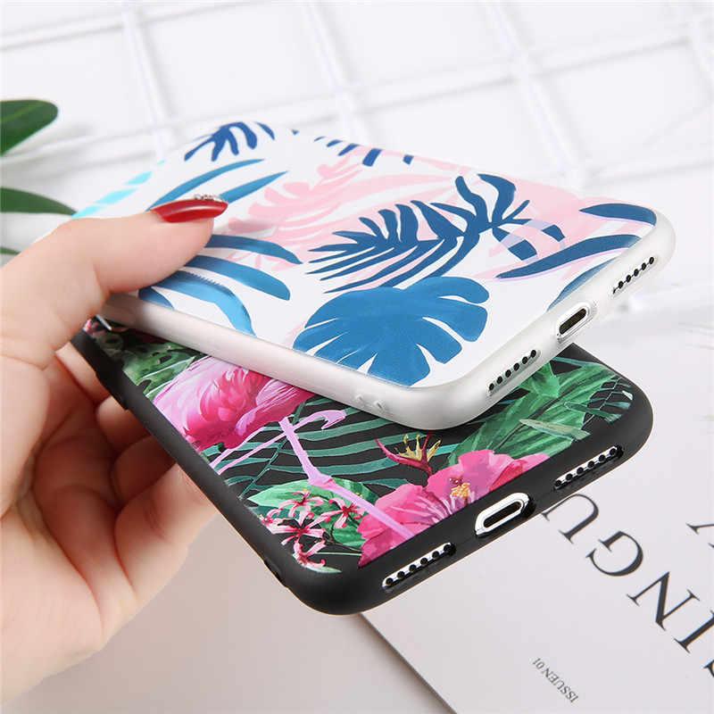 Capa para iphone 5 5S se 6s 7 8 plus uslion folhas flor caso de telefone para iphone x xs xr max flamingo padrão macio
