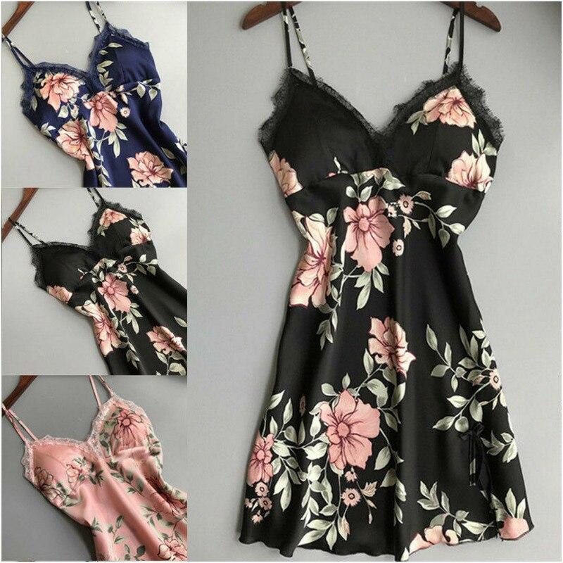 2019 Sexy Floral Print Night Dress Nightgown Nightwear Vintage Lingerie Silk Dress Sleep Wear Nightdress