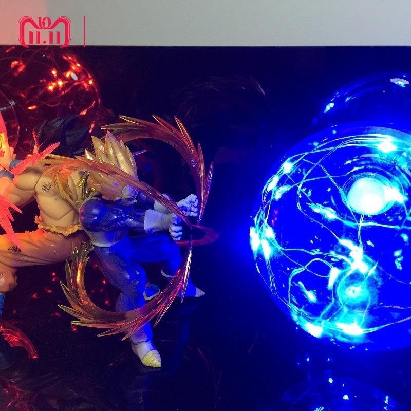 Anime Dragon Ball Z Action Figure Toys Son Goku Super Saiyan Vegeta LED Flash Ball fancy Night light DIY Display Toy Cool Gift