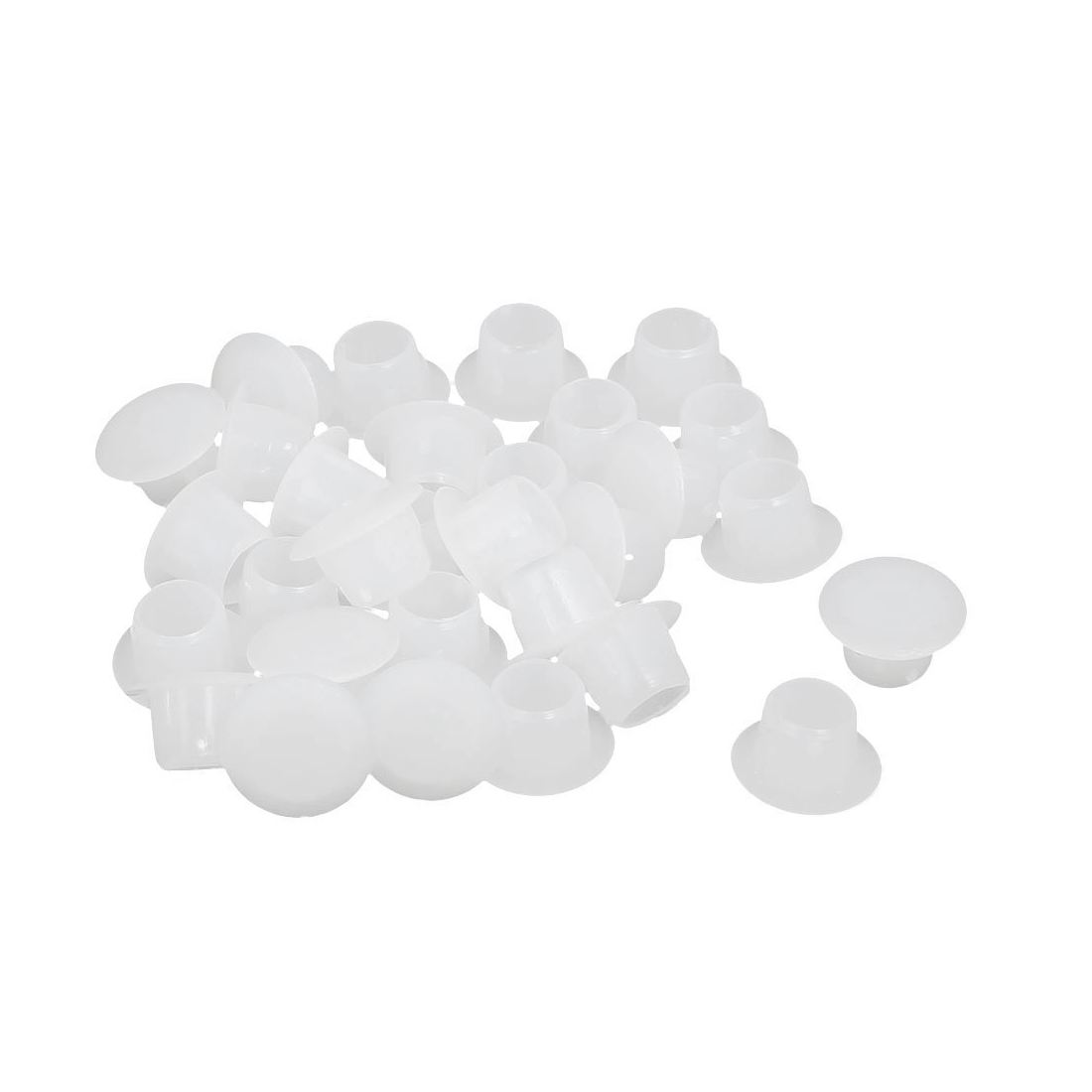 8mm Dia Plastic Straight Line Screw Cap Covers Hole Lids White 30pcs