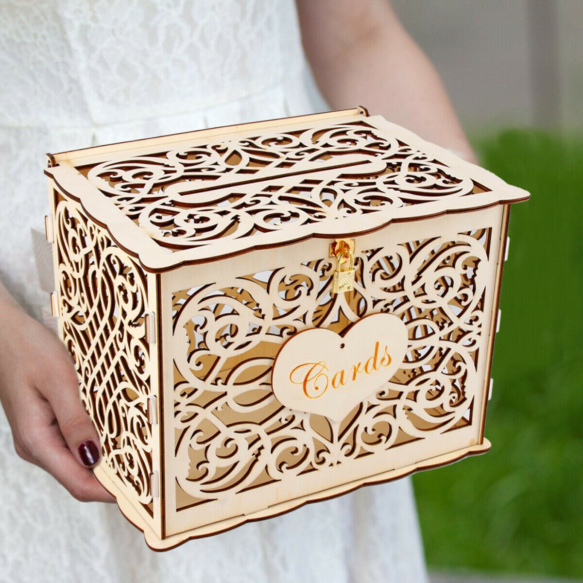 DIY Wedding Gift Card Box Wooden Money Box With Lock Beautiful Wedding Decoration Supplies For Birthday Party New 30x24x21cm