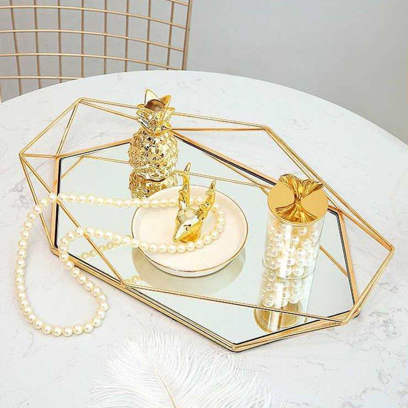 Винтажный Европейский цветной стеклянный металлический поднос для хранения, Золотая овальная точечная Фруктовая тарелка, настольные мелкие предметы, зеркальный дисплей для ювелирных изделий-3