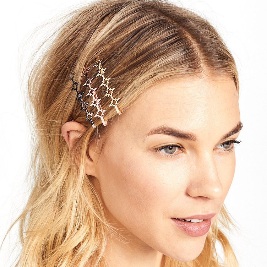 Vintage Hairpins For Women Golden Metal Alloy Asterism Type Hair Clips Retro Fringe Hairgrips Wedding Hair Jewelry Headress 2019 in Hair Jewelry from Jewelry Accessories