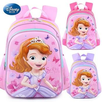 Disney 2019 3D Princess Sophia Girl Waterproof Orthopedic School Book Backpack Cartoon Ultralight Kids Mummy Bag Grade 1-6