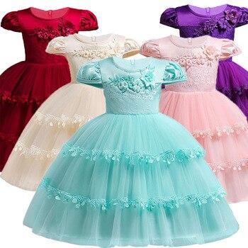 7c70e9c2 Vestido bordado de la muchacha de Berngi nuevo Casual puro algodón niñas  cumpleaños fiesta princesa niños pastel tutú ropa de Navidad