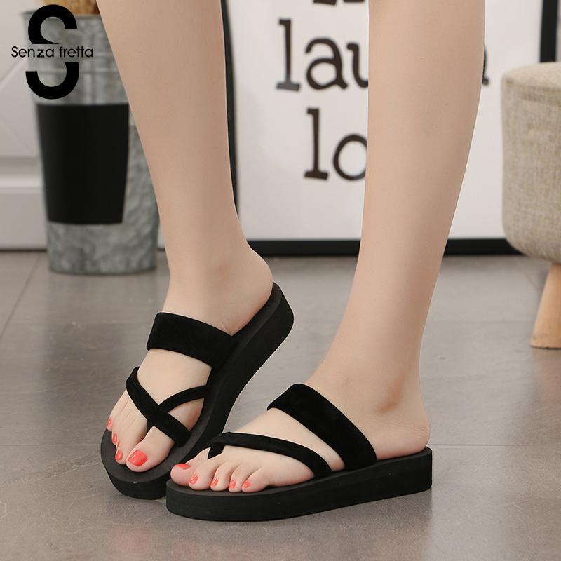 Senza Fretta 2019 New Women Summer Non-slip Platform Shoes Wedges High Heel Woman Outdoor Beach Slippers Sandals sapato feminino(China)