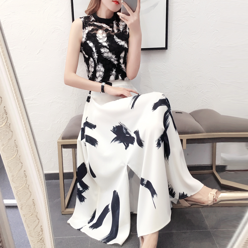 2019 Summer Women Sleeveless Mesh Top + Ink Painting Print Split Skirt Two-piece Chiffon Long Maxi Ladies 2 Piece Set Skirt Set