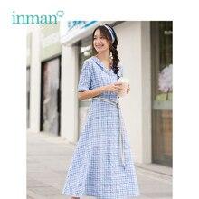 INMAN Sommer Blau Weiß Plaid Literarische Junge Mädchen Schlank A linie Drehen Unten Kragen Frauen Kleid