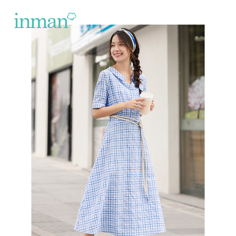 INMAN Summer Blue-White Plaid Literary Young Girl Slim A-line Turn Down Collar Women Dress