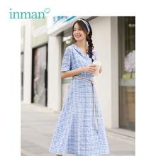 INMAN Summer Blue White Plaid Literary Young Girl Slim A line Turn Down Collar Women Dress
