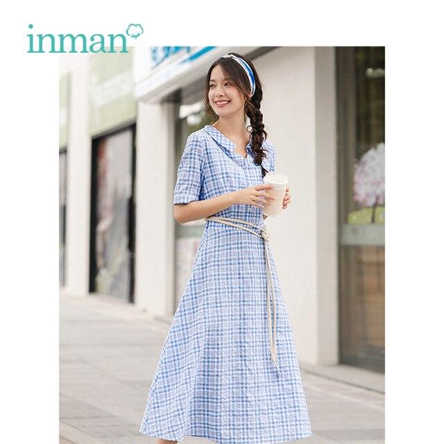INMAN lato niebiesko biała chusta literacka młoda dziewczyna szczupła linia skręcić w dół kołnierz kobiety sukienka