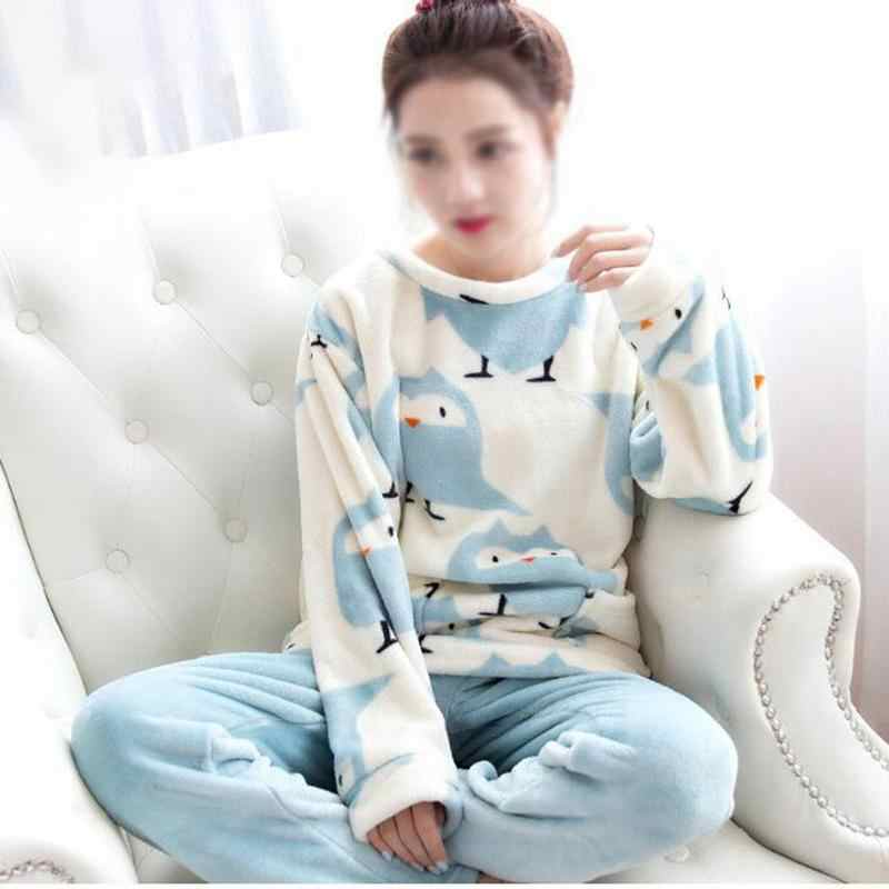 1dafa71b4a Women s Winter Home Service Cartoon Cute Pure Lark Bird Coral Fleece Suit  Flannel Pajamas Women Sleepwear