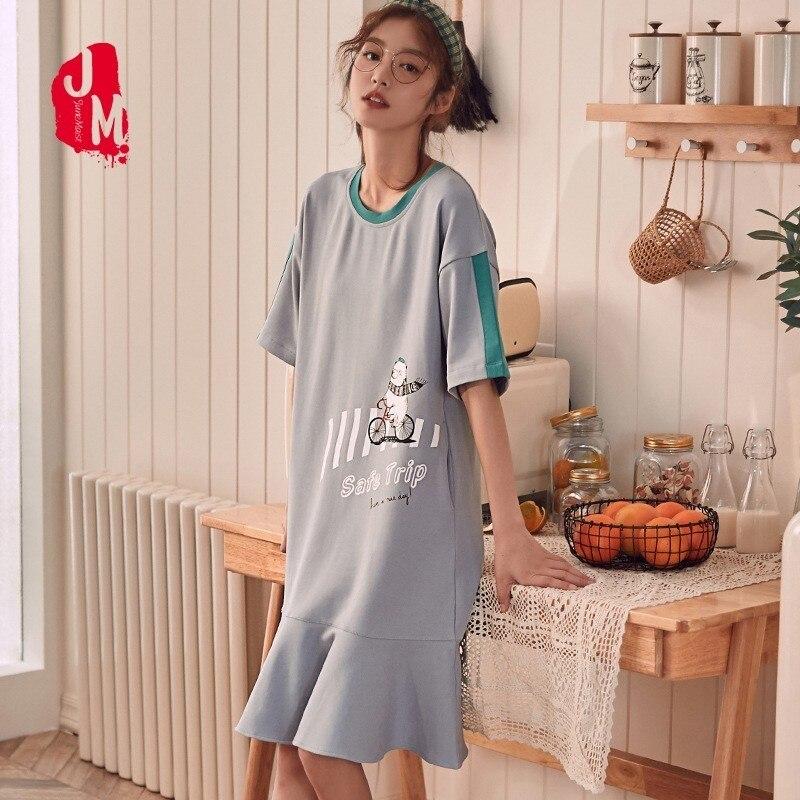 Summer Nightdress Cotton Sleepwear Short Sleeve Casual Stripe Slim Patchwork   Nightgown     Sleepshirts   Nightwear Female Home Clothes