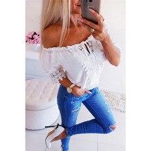 купить Women Shirt Tops Sexy Lace Slash Neck Short Top Casual Hollow Out White Shirt Off Shoulder Blouse Summer Ladies Fashion Tops D30 дешево