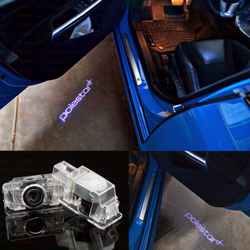 2x Custom Courtesy Light, Polestar Logo LED Door Step Courtesy Shadow Laser Lights For Volvo V40 V60 S60 S80 XC90 C30 S90 V70