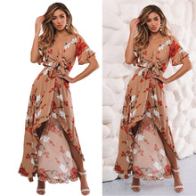 Front Lace Up Women Dress Summer Beachwear Elastic Ruffle Sleeve Irregular Hem Evening Party Floral Print Long High Waist Sexy ruffle hem floral bardot dress