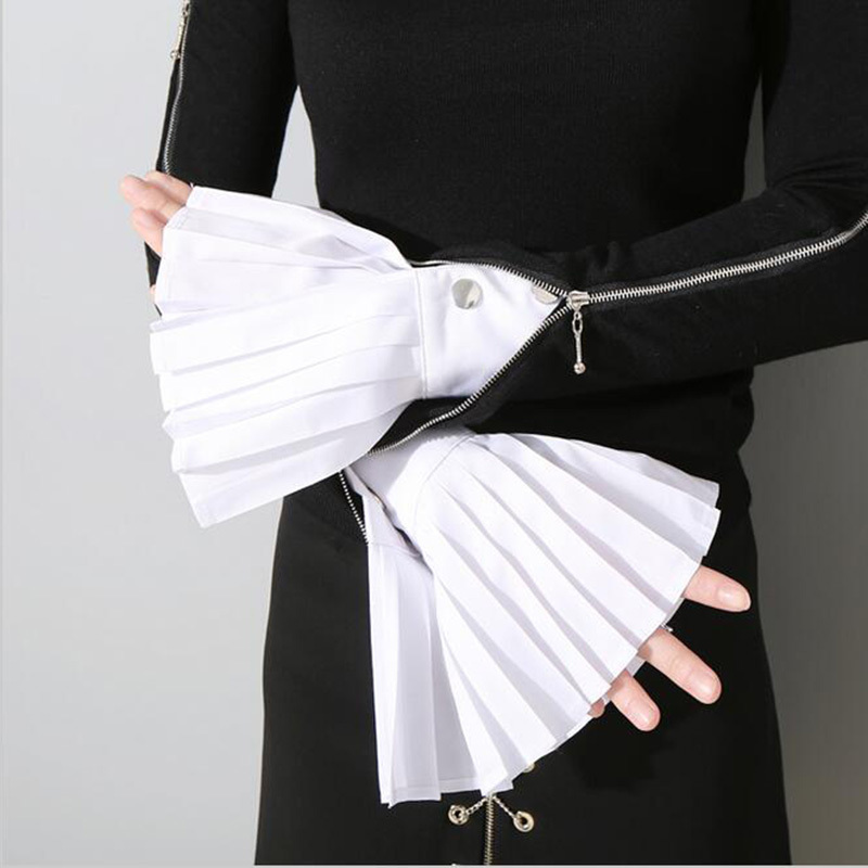 [EWQ] 2019 Spring Fashion New Korean Solid Color White Blue Black Pleated Buttons False Cuff Oversleeve Cuff All-match ASS30080