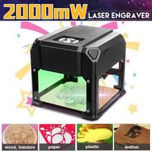 2000 mW USB bureau Laser graveur Machine 80x80mm gravure gamme logo bricolage marque imprimante Cutter CNC Laser sculpture Machine