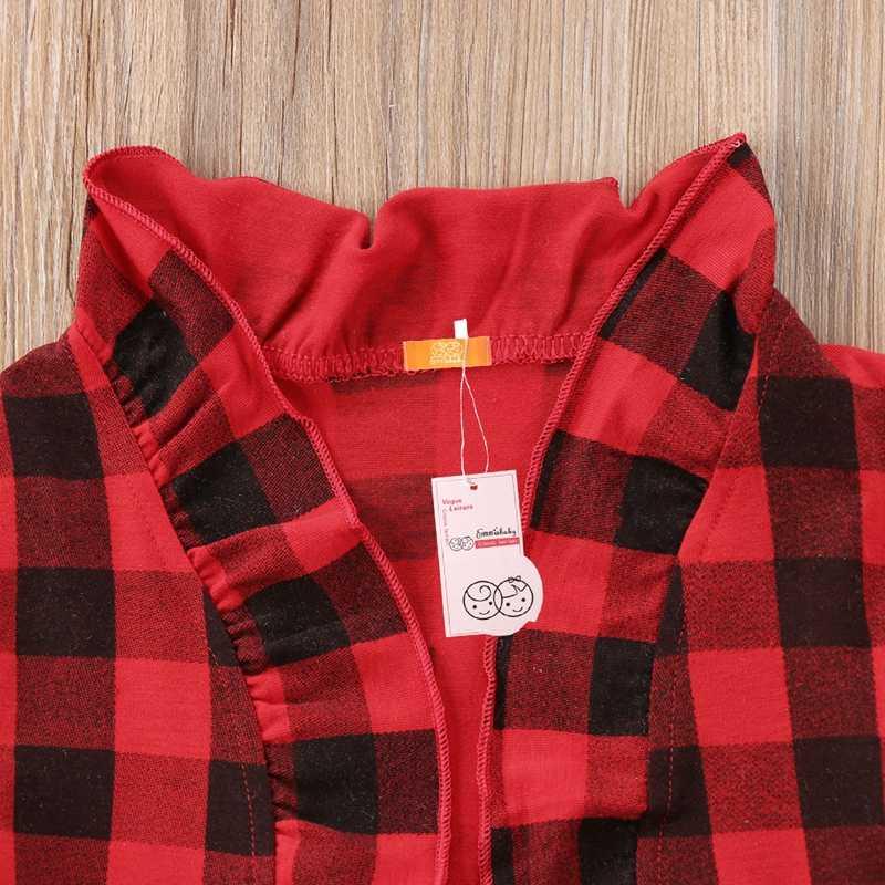 פעוט תינוק בנות מעיל בדק אדום משובץ נסיכת ילדים ראפלס קרדיגן מעיל הלבשה עליונה Snowwear גיל 1-5 שנה