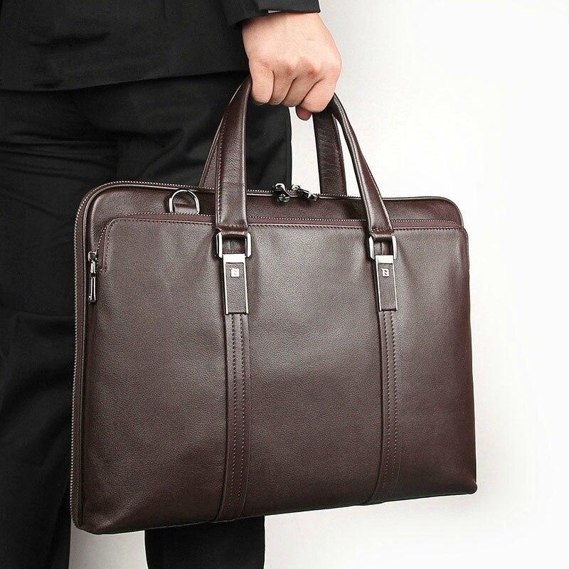 Men Business Messenger Bag 15'' Laptop Tablet Leather Shoulder Bag Crossbody Male Bags Genuine Leather Handbag