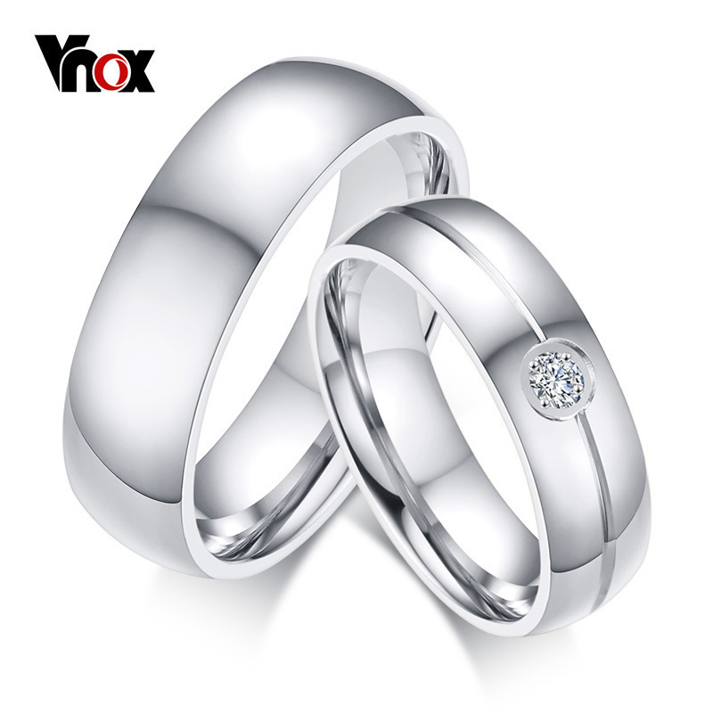 Vnox Ring for Wedding-Bands Engagement Alliance Never Fade Stainless-Steel Silver Female