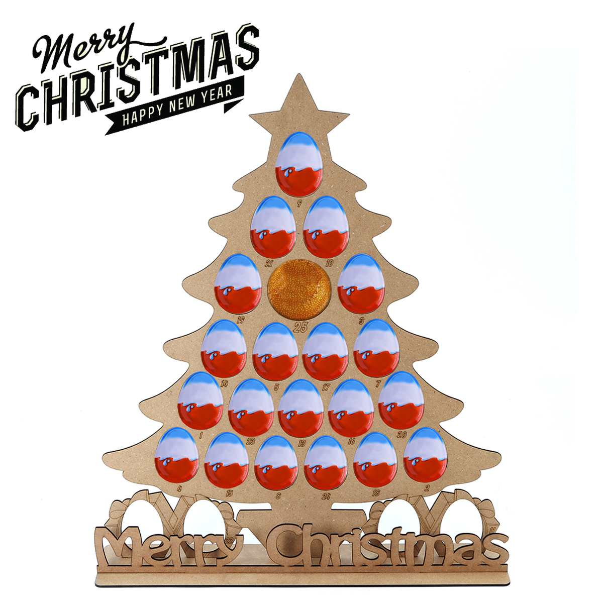 Christmas Decoration Wooden Christmas Calendar Christmas Tree Modeling Countdown Calendar for Chocolate Display Stand 58x50cm