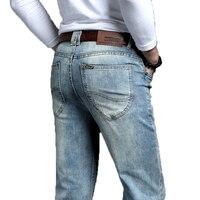 Ковбойские винтажные мужские Джинсы Новое поступление 2019 модные Эластичные Классические джинсовые брюки мужские дизайнерские прямые обле...