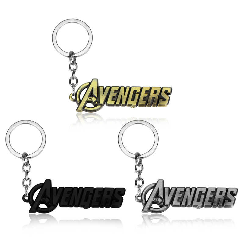 Hot Marvel Movie Comics The Avengers Key Chain Holder Avengers Words Letters Logo Keychain Metal Jewelry Gift Man