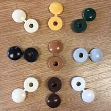100 шт. шарнирная пластиковая крышка с винтом, кнопка со складывающимися колпачками для автомобильной мебели, декоративная крышка, потайные винты с полукруглой головкой
