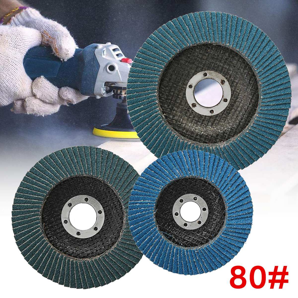 1 Piece 80 Grit Metal Flap Sanding Discs Wheel Angle Grinder Rotary Polishing Tools Metalworking Abrasive Tools 100/115/125mm