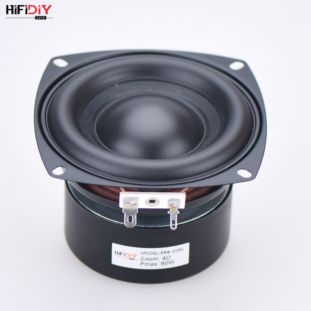 HI FI DIY AUDIO 4 Inch 80W Woofer Speaker High Power Long Stroke BASS Home Theater For 21 Subwoofer Unit Loudspeakers SB4 105S