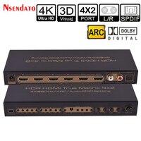 HDMI истинный матричный коммутатор 2,0 4 К HDR 4x2 аудио эксрактор адаптер коммутатор с оптическая дуги SPDIF EDID HDMI2.0 сплиттер для ТВ PS4