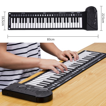 Besegad Portable Foldable 49-Key Electronic Keyboard Piano Musical Teaching Toy for Adult Kids Birthday Christmas Festival Gift