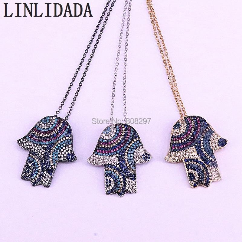 5Pcs Fashion Turkish Jewelry Hamsa Hand Pendants micro pave cz zirconia jewelry necklace