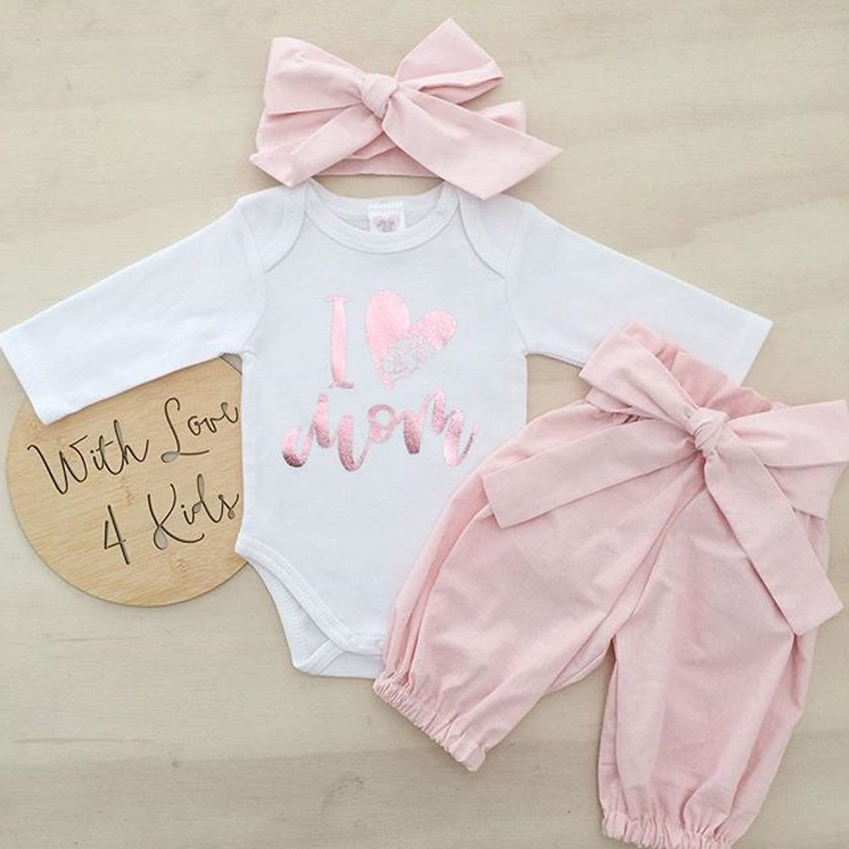 Pudcoco Girl Set 0-24M 3pcs Baby Girls Romper+Long Pants+Headband Cute Outfits Toddler Kid Clothing Set
