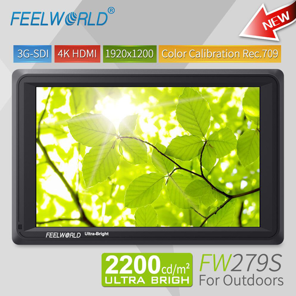 Feelworld 7 inch 3G SDI 4K HDMI DSLR Camera Field Monitor Ultra Bright 2200cd/m2 Full HD 1920x1200 LCD IPS FW279S for Outdoors feelworld f7s 7 inch sdi 4k hdmi on camera dslr field monitor full hd 1920x1200 aluminum housing small lcd ips external display
