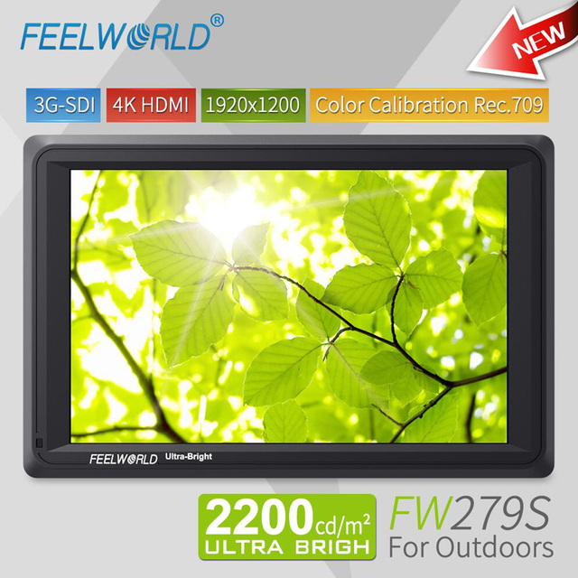 Feelworld 7 inch 3G SDI 4K HDMI DSLR Camera Field Monitor Ultra Bright 2200cd/m2 Full HD 1920x1200 LCD IPS FW279S for Outdoors