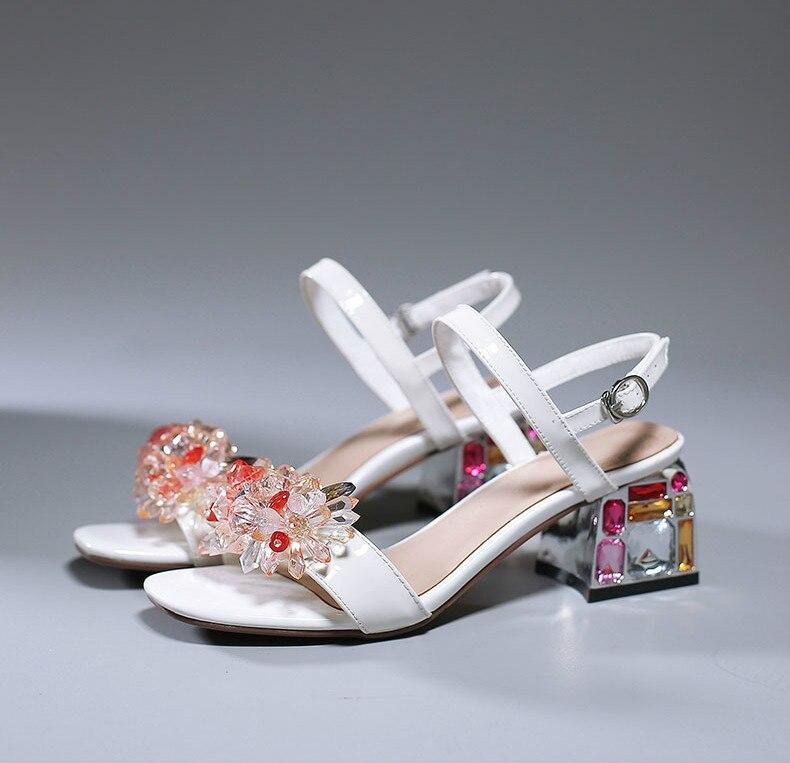 Sandalias Picture De Zapatos Picture Tacones Estilo Dulce Correa Flor Bajos As Hebilla Las as Mujeres Cristal Mujer Lleno TXrBTwqd