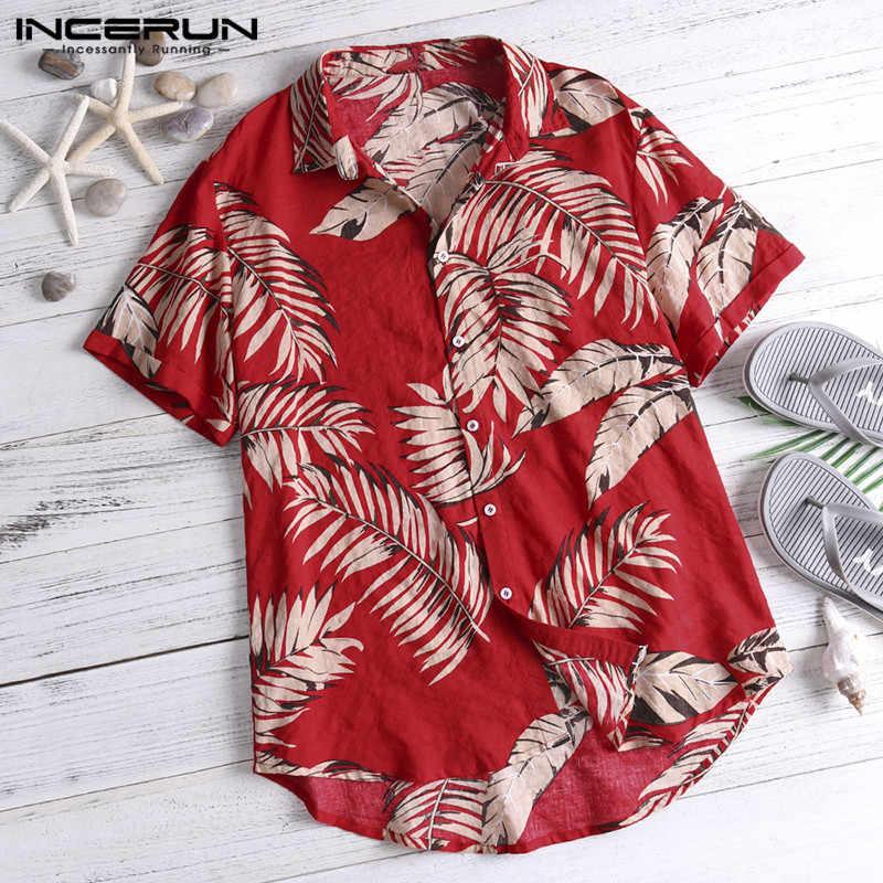 INCERUN Летняя мужская гавайская рубашка с принтом короткий рукав, топы, повседневные праздничные женские пляжные рубашки Camisa Masculina 2019 5XL