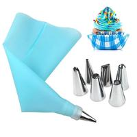 8Pcs/Set Silicone Icing Piping Cream Pastry Bag +6PCS Stainless Steel Nozzle Pastry Tips Converter DIY Cake Decorating Tools