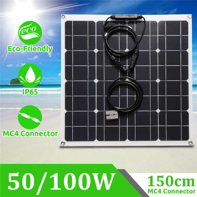 Hot 12/18V 50/100W Waterproof Solar Panel Modules With 1.5m MC4 Line  for Fishing Boat Car RV Outdoors Grasslands  solar systemHot 12/18V 50/100W Waterproof Solar Panel Modules With 1.5m MC4 Line  for Fishing Boat Car RV Outdoors Grasslands  solar system