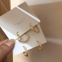 2019 Korea Japan Vintage Hoop Earrings Metal Scrub Matte Gold Knotted Winding Punk Smooth For Women Baroque Jewelry