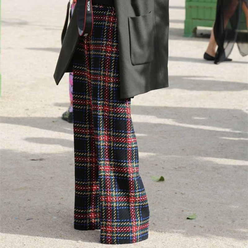 Casual Pantalon Petit Simple Ael Jambe Long Taille Large Femme Haute Coton Style Lâche Dames Plaids Lattice Femmes Plaid fwRUYqt