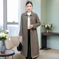 Plus Size Casual Windbreak Trench Winter Wool Blends Coat Women Long Woolen Coats Houndstooth Overcoat Manteau Femme Hiver