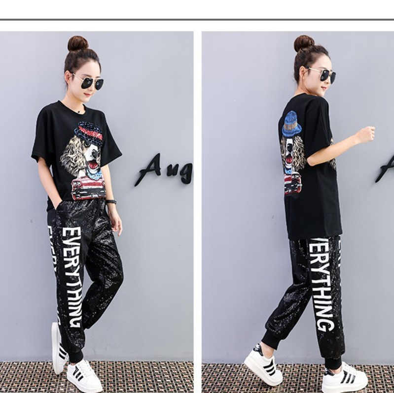 QING MO Full Women Sequin Pants White Letter Long Pants Black Elastic Waist Pants Streetwear Trousers For Girls 2019 ZLD625A