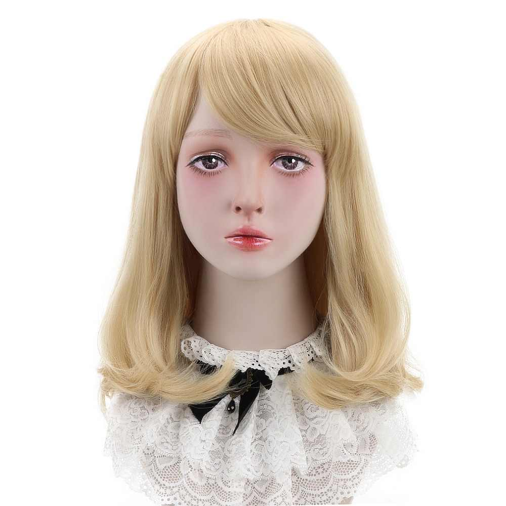 "Free Beauty 18"" Long Wavy Synthetic Natural Blonde Ash Brown Blond Hair Wigs with Air Bangs for Women Daily Lolita Cosplay Party"