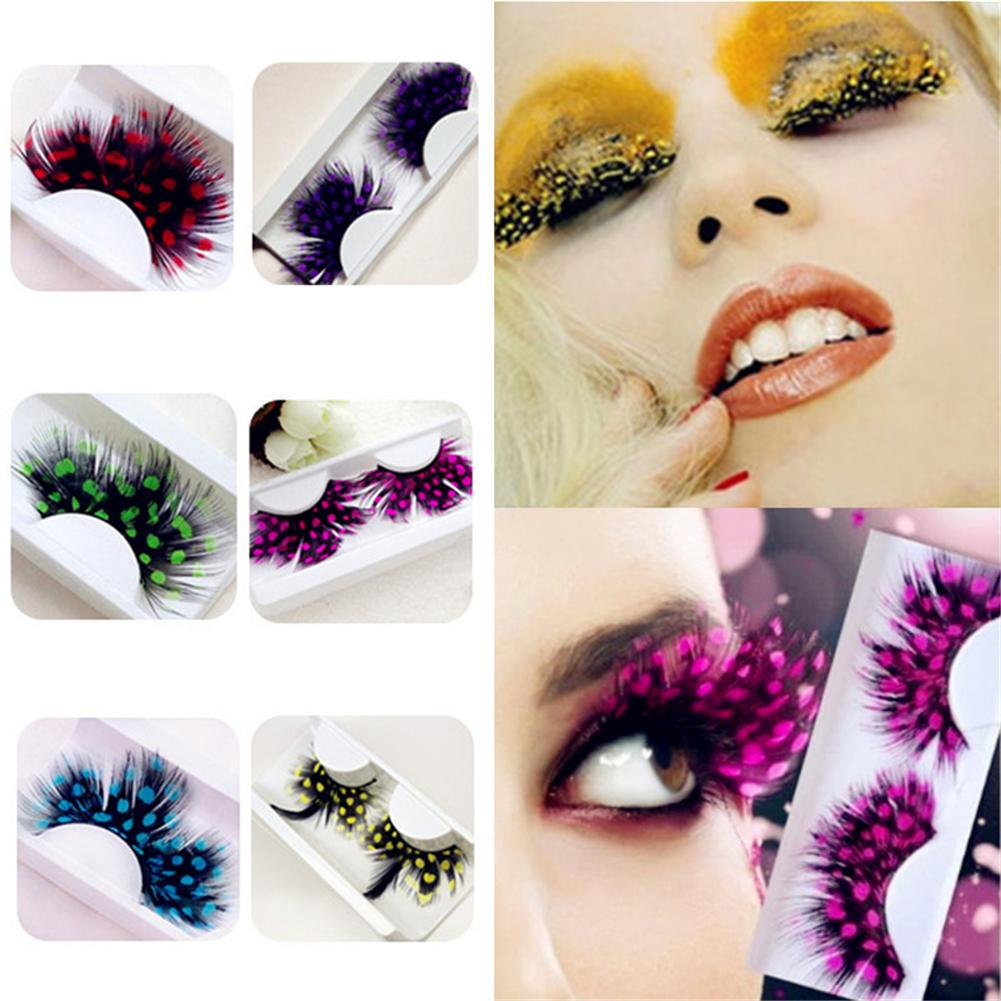 New Halloween Stage Style High-flown Feather Model Eyelashes Colorful Long False Eyelashes Extension Tools Makeup Beauty Tools